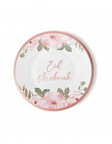 Assiettes Eid Mubarak Or Rose 6 pièces