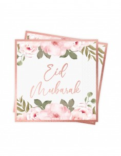 Serviettes Eid Mubarak Or Rose